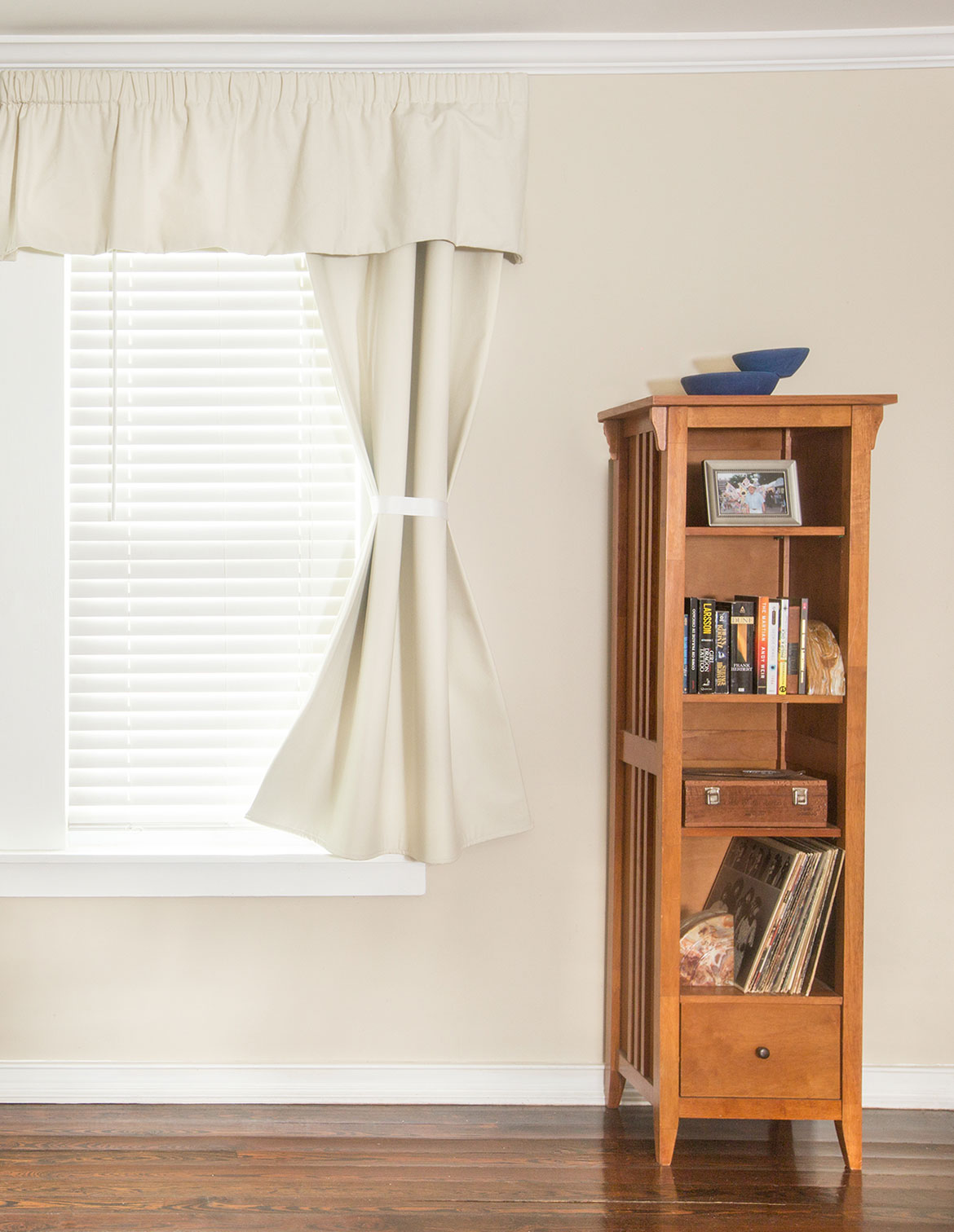 Retractable Sliding Single Panel Soundproof Curtain Shown in Bedroom on Window - AcoustiTrac