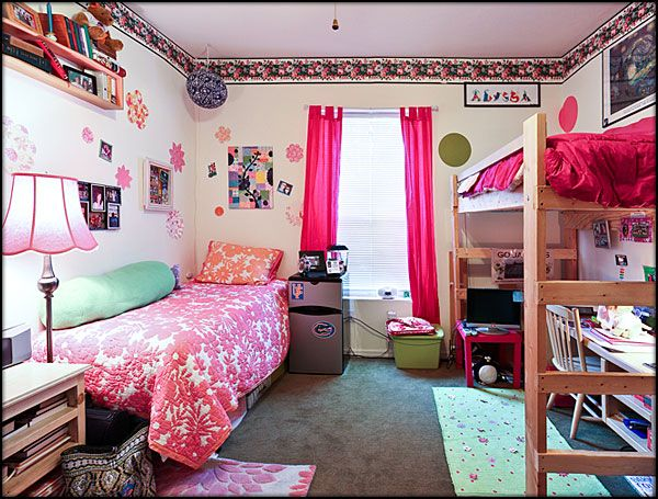 What dorm room could look like with curtains before soundproofing curtains are installed